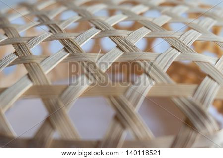 Close up bamboo weave pattern selective focus.