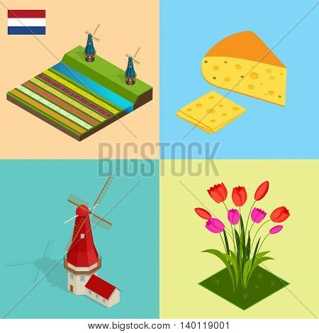 Dutch windmill and colorful tulips flowers, Netherlands. Symbols Holland cheese, windmill, tulips, flag. Flat 3d vector isometric illustration.