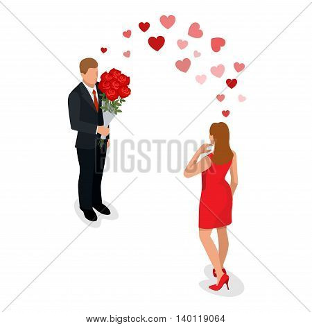 Romantic couple in love meeting. Love and celebrate concept. Man gives a woman a bouquet of roses. Romantic lovers dating. Vector flat 3d isometric illustration