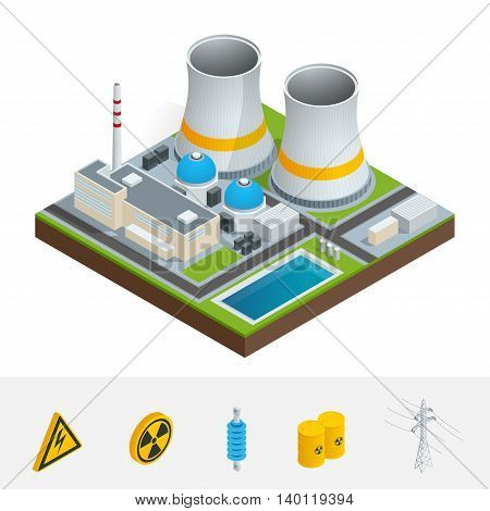 Vector isometric icon, infographic element representing nuclear power station, reactors, power lines and nuclear energy generation related facilities. Industrial landscape