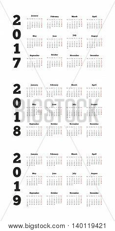 Set of simple calendars in english on 2017, 2018, 2019 years isolated on white