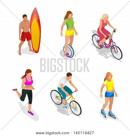 Man is standing with a surfboard in his hands. Roller Skating girl. One-wheeled Self-balancing electric scooter. Girl running. Active isometric vector People. Cyclists on bicycle. Healthy Lifestyle