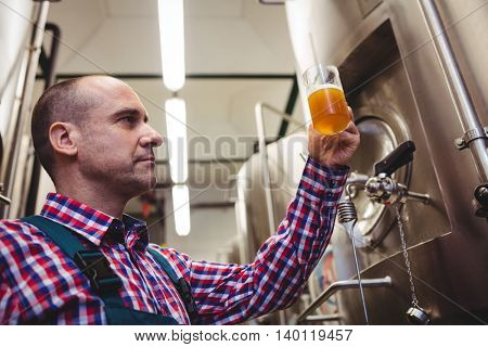 Low angle view of manufacturer examining beer in mug at brewery