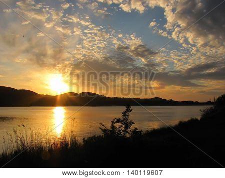 sunrise over the lake with beautiful sky