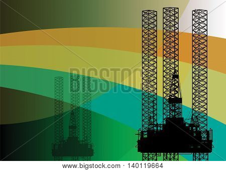 Oil rig abstract color background, vector illustration