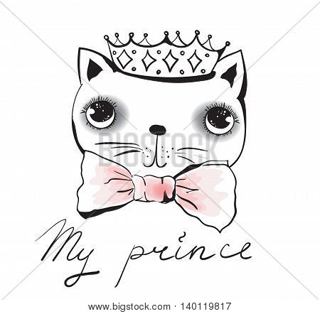 Vector doodle cute and trendy cat avatar prince