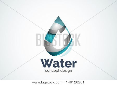 Abstract business company water drop logo template, conservation environmental nature concept - geometric minimal style, created with overlapping curve elements and waves. Corporate identity emblem