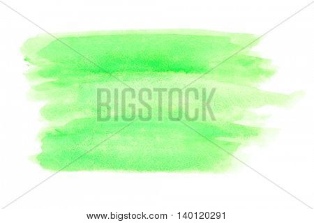 Light green watercolor background isolated on white (raster)