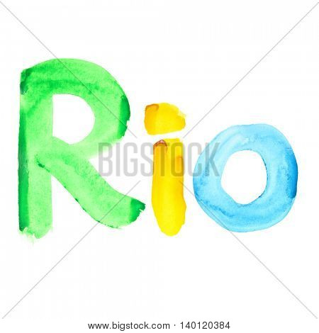 Watercolor word RIO isolated on white