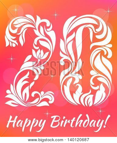 Bright Greeting Card Invitation Template. Celebrating 20 Years Birthday. Decorative Font With Swirls