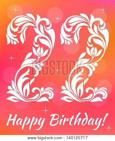 Bright Greeting Card Invitation Template. Celebrating 22 Years Birthday. Decorative Font With Swirls