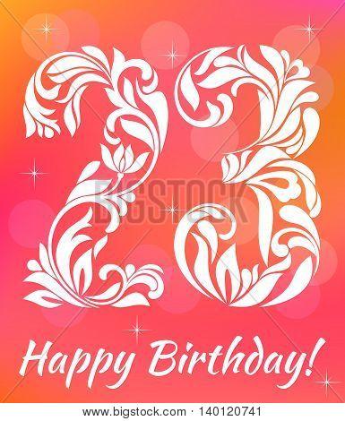 Bright Greeting Card Invitation Template. Celebrating 23 Years Birthday. Decorative Font With Swirls