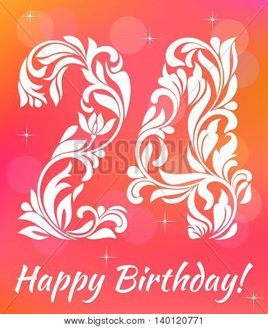 Bright Greeting Card Invitation Template. Celebrating 24 Years Birthday. Decorative Font With Swirls