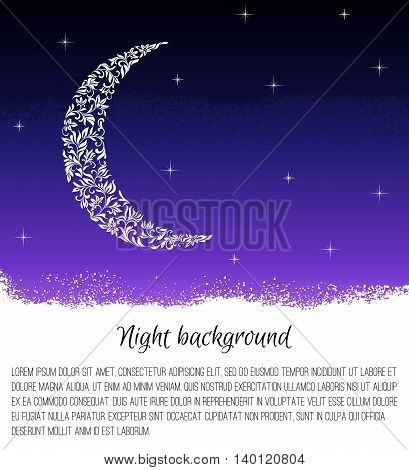 Night background with the moon and stars. Month made of floral tracery. There is a place for text.