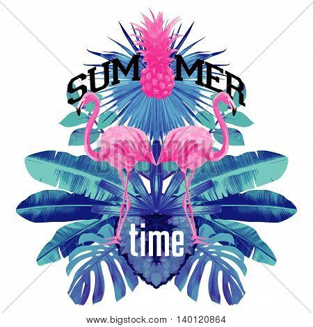 Pink flamingo mirror illustration Typographical Background With Tropical Plants pineapple And Flowers party poster with blue palm leaf and lettering summer time