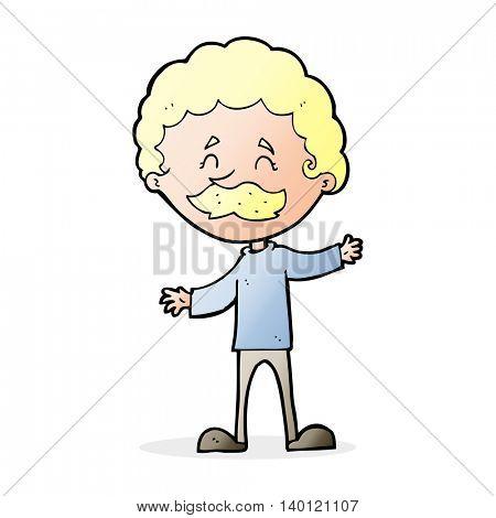 cartoon happy man with mustache