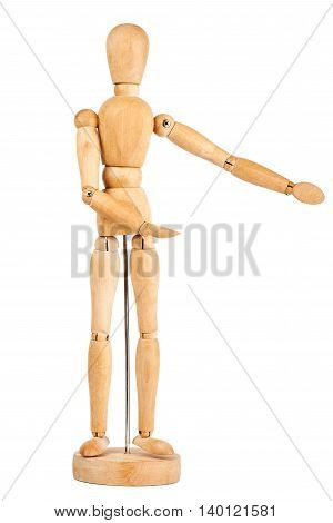 Wooden dummy showing direction isolated on a white background