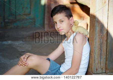 young boy with little yellow duckling in summer village