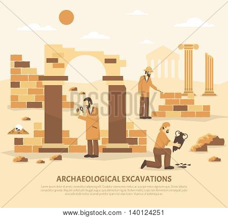 Color flat illustration depicting scientists conducting archaeological excavations vector illustration