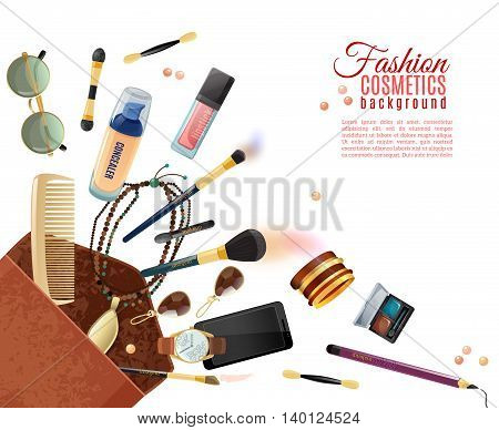 Fashion flat background with cosmetics various accessories and makeup tools in beauty bag on white background vector illustration