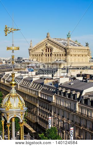 Panorama of Paris - Opera Garnier in the background.View of Paris from the roof of Printemps Department Store