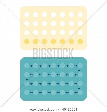 28 Contraceptive pills, Birth control pill, flat design