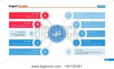 Process mind map slide template. Business data. Chart, graph, diagram. Concept for infographic, business templates, presentation, marketing. Can be used for topics like research, management, planning.