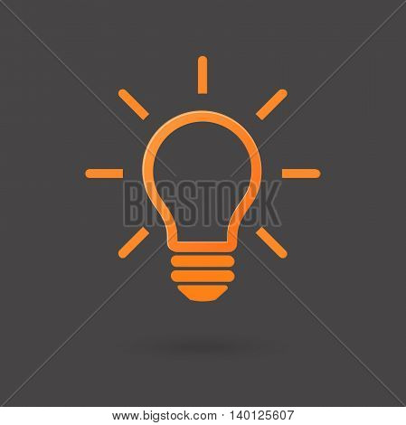 Light bulb icon. Idea sign. Solution, Inspiration concept. Bright lightbulb isolated on dark background. Modern design for print, web. Trendy Simple symbol, button to mobile app. Vector Illustration.