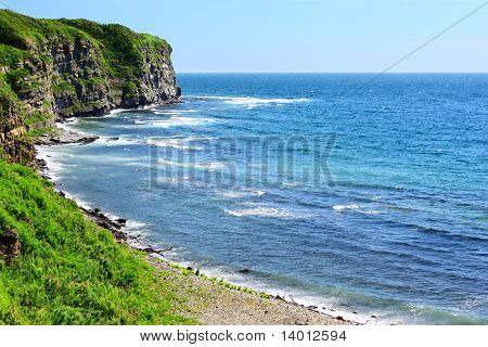 Blue sea and rocks with green grass on top