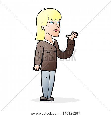 cartoon woman explaining