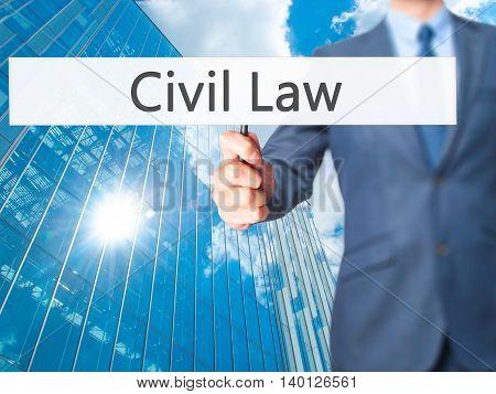 Civil Law - Businessman Hand Holding Sign