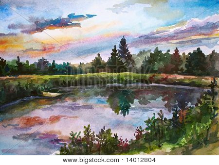 Hand made drawing. Wild pond with pines