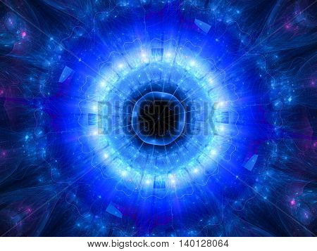 Blue glowing stargate in space computer generated abstract background