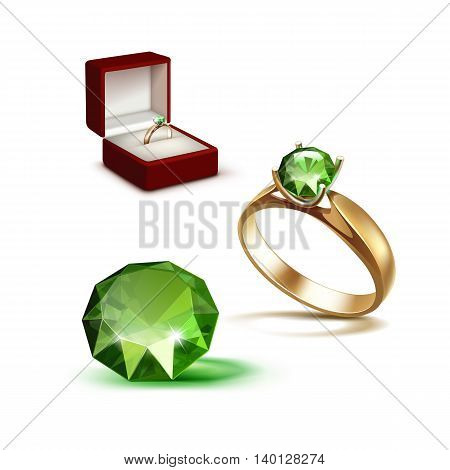 Vector Gold Engagement Ring with Green Shiny Clear Diamond in Red Jewelry box Close up Isolated on White Background