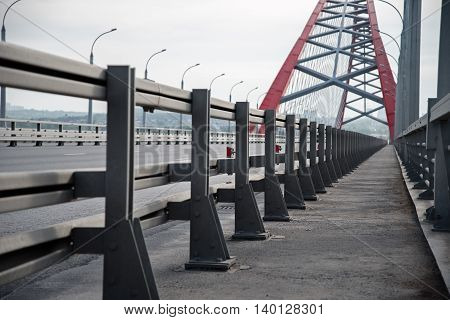 bridge railings and red bridge arch on blackground