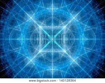 Blue glowing geometrical elements in space fractal computer generated abstract background