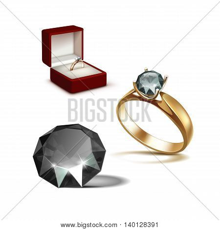 Vector Gold Engagement Ring with Black Shiny Clear Diamond in Red Jewelry box Close up Isolated on White Background