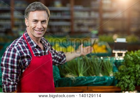 Portrait of smiling male staff showing organic section of super market