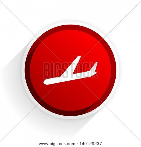 arrivals flat icon with shadow on white background, red modern design web element