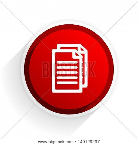 document flat icon with shadow on white background, red modern design web element