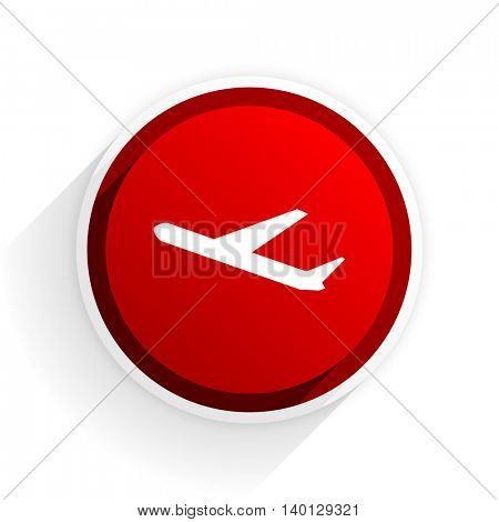 departures flat icon with shadow on white background, red modern design web element