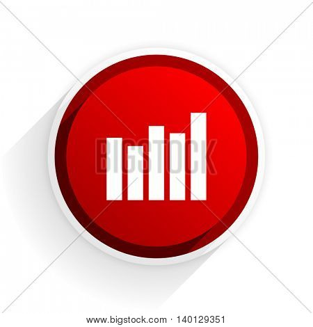 graph flat icon with shadow on white background, red modern design web element