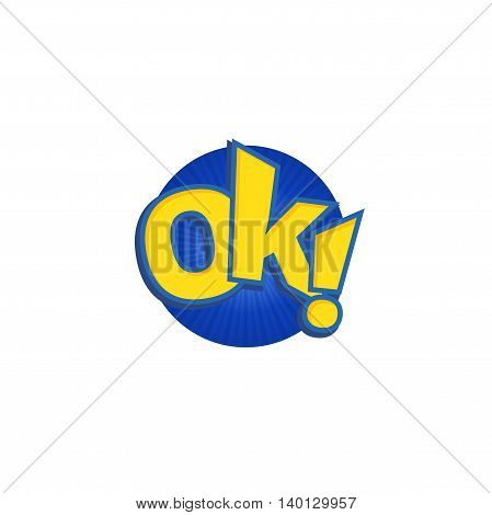 Ok phrases written in a cartoon game style yellow color with blue stroke.
