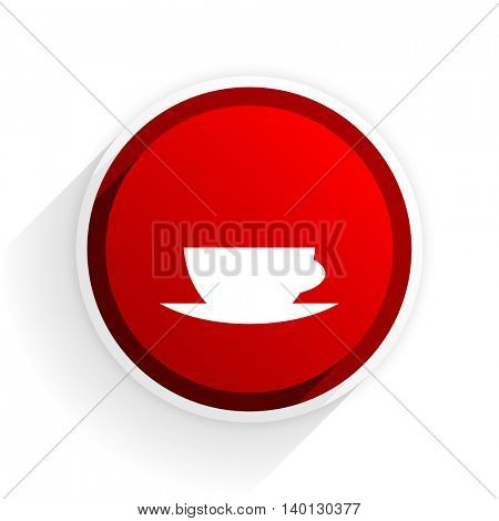 espresso flat icon with shadow on white background, red modern design web element