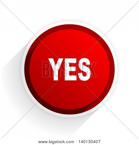 yes flat icon with shadow on white background, red modern design web element