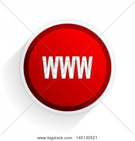 www flat icon with shadow on white background, red modern design web element