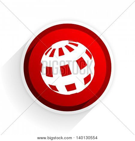 earth flat icon with shadow on white background, red modern design web element