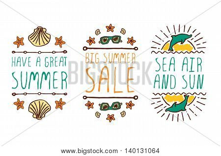Set of colorful summer hand-sketched elements with dolphins, sunglasses, shells on white background