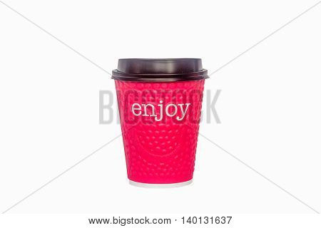 Red paper cup for hot drinks with the inscription enjoy