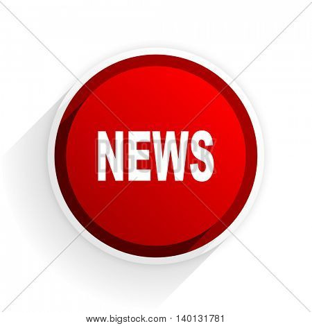 news flat icon with shadow on white background, red modern design web element